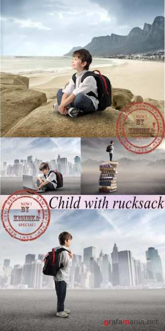 Stock Photo: Child with rucksack