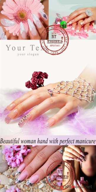 Stock Photo: Beautiful woman hand with perfect manicure