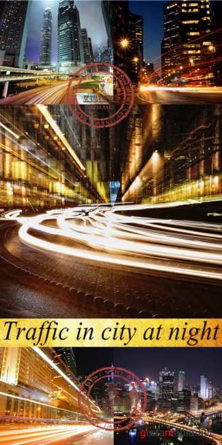 Stock Photo: Traffic in city at night