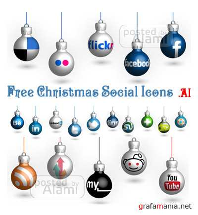 Vector Christmas Social Icons