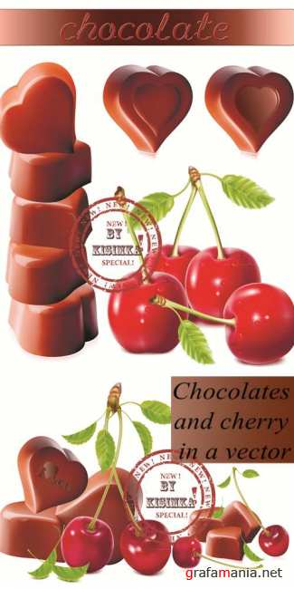 Stock: Chocolates and cherry in a vector