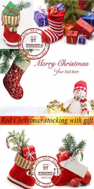 Stock Photo: Red Christmas stocking with gift