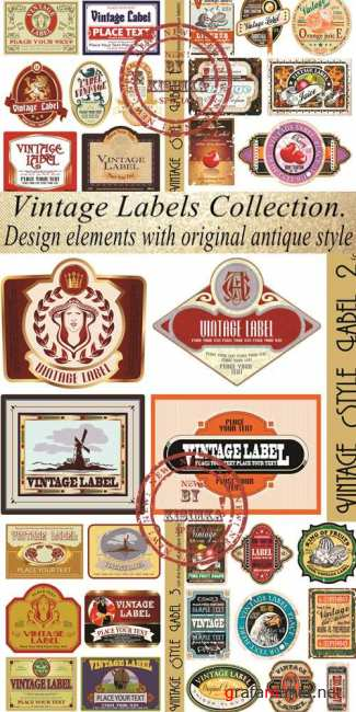 Stock: Vintage Labels Collection. Design elements with original antique style
