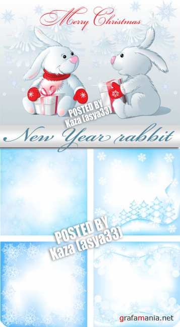 Rabbit and blue New Year backgrounds