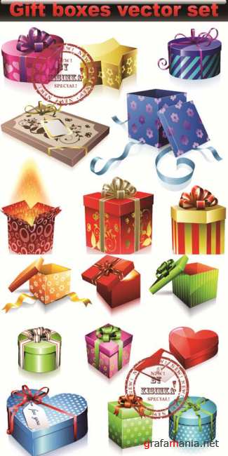 Stock: Vector set of colorful gift boxes