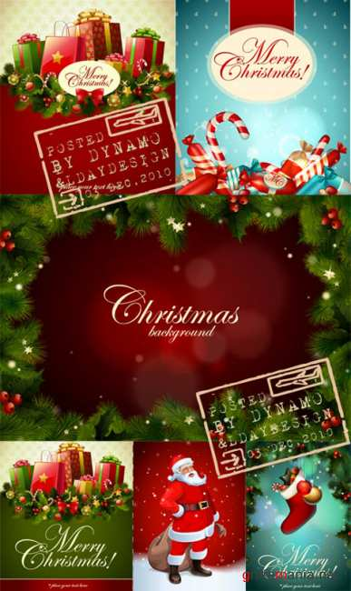 Stock Vectors - Christmas postcards, backgrounds, frames and Santa Claus