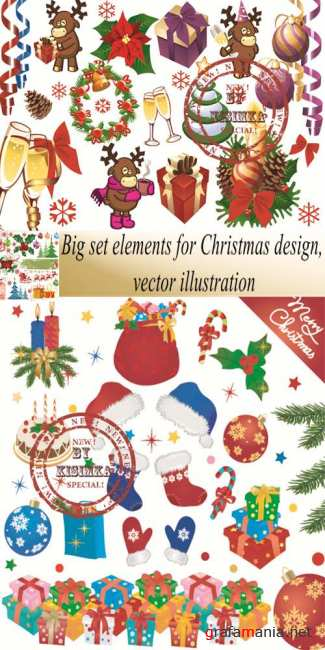 Stock: Big set elements for Christmas design, vector illustration