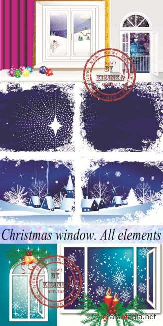 Stock: Christmas window. All elements