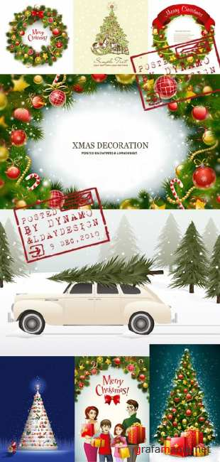 Stock Vectors - New Year tree and Xhristmas decoration