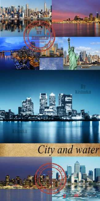 Stock Photo: City and water