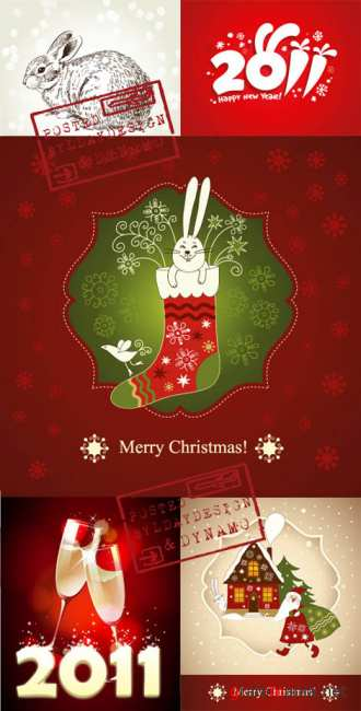 Stock Vectors - New Year postcards 2011 with rabbit