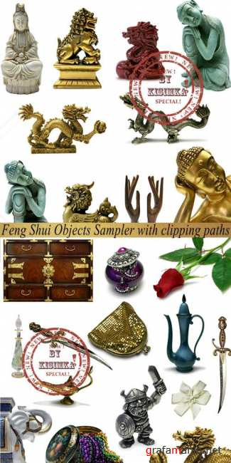 Stock Photo: Feng Shui Objects Sampler with clipping paths