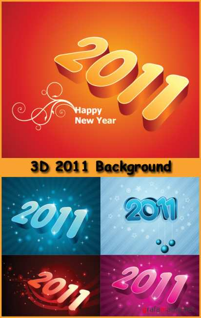 3D 2011 Background - Stock Vectors