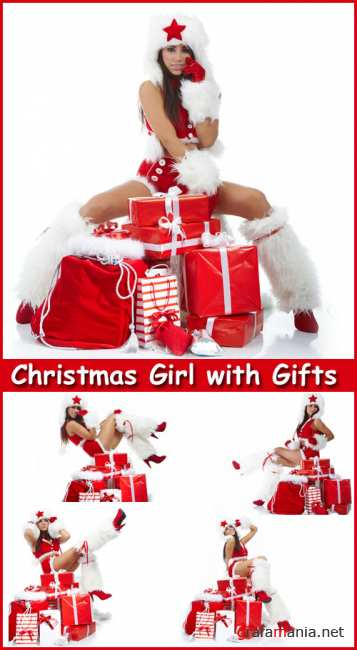 Christmas Girl with Gifts - Stock Photos