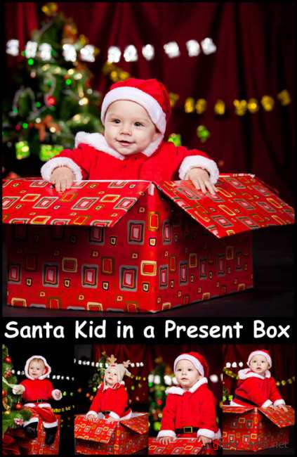 Santa Kid in a Present Box - Stock Photos