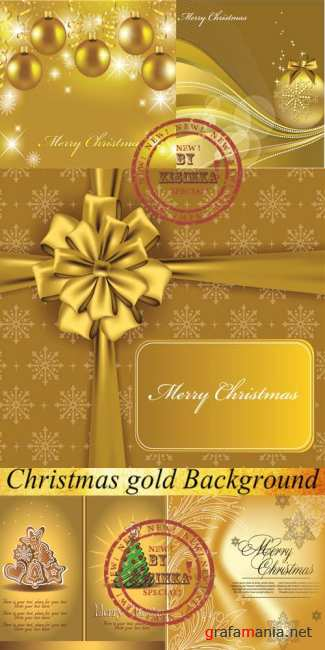 Stock: Christmas gold Background Vector Illustration