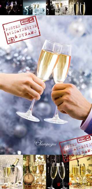 Stock Photo - Celebrating the New Year eve with champagne