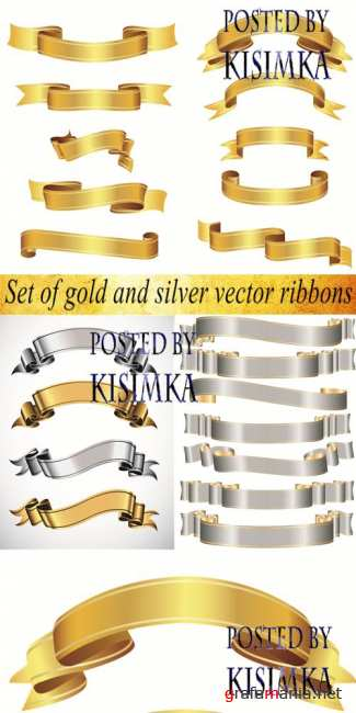Stock: Set of gold and silver vector ribbons
