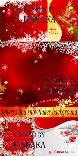 Stock Photo: Spheres and snowflakes background
