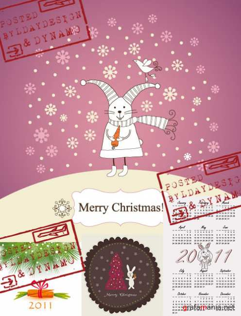 Stock Vectors - New Year / Christmas cards and calendar 2011 with rabbit