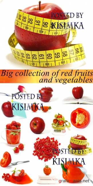 Stock Photo: Big collection of red fruits and vegetables