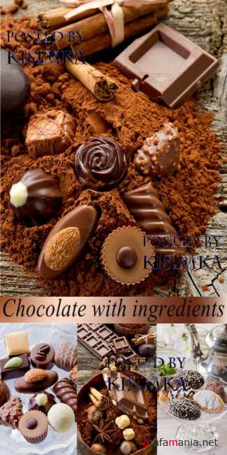 Stock Photo: Chocolate with ingredients