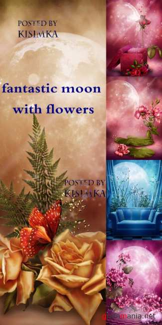Stock Photo: Fantastic moon with flowers