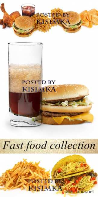 Stock Photo: Fast food collection on on white background