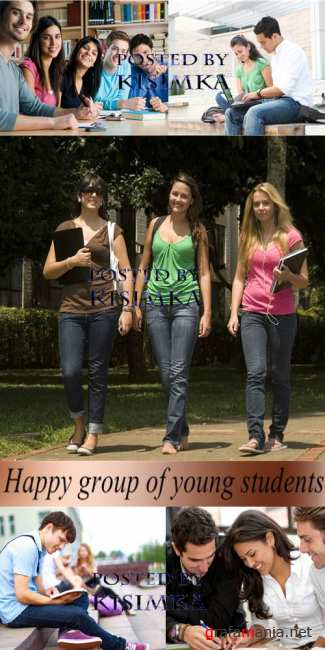 Stock Photo: Happy group of young students