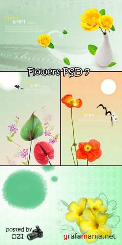 Flowers backgrounds PSD 7