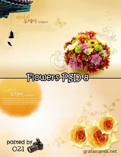 Flowers backgrounds PSD 8