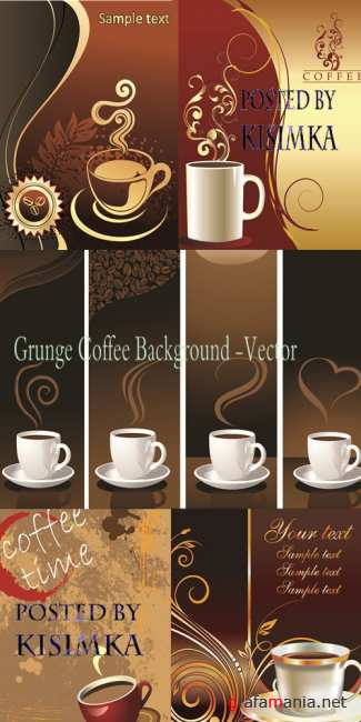 Stock: Grunge Coffee Background -Vector