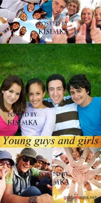 Stock Photo: Young guys and girls