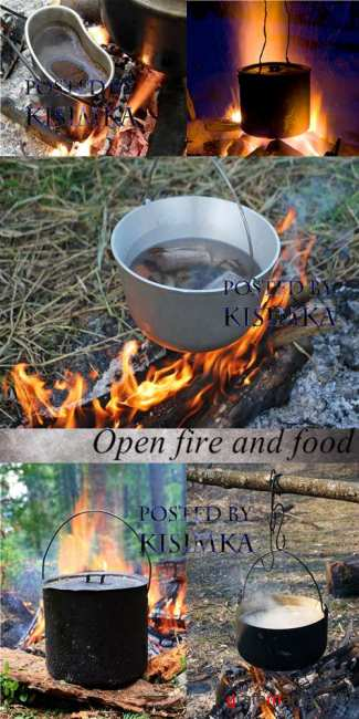 Stock Photo: Open fire and food