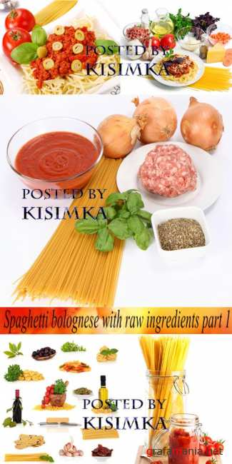Stock Photo: Spaghetti bolognese with raw ingredients part 1