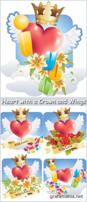 Heart with a Crown and Wings - Stock Vectors