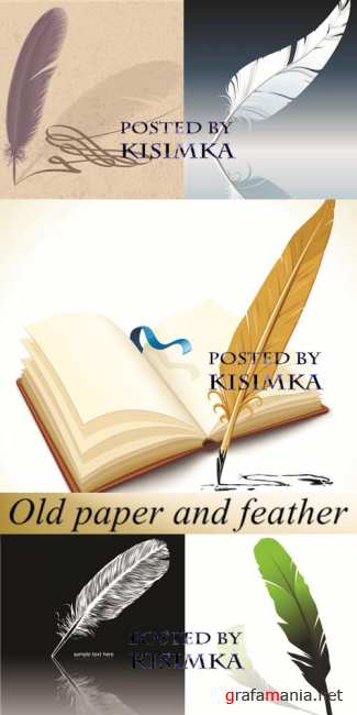 Stock: Old paper and feather