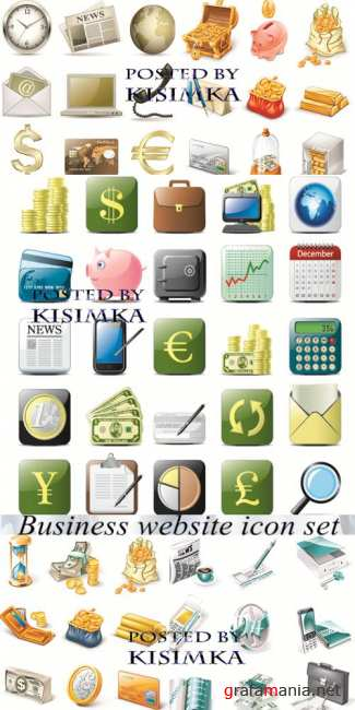 Stock: Business website gold icon set