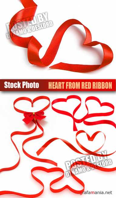 UHQ Stock Photo - Heart from red ribbon