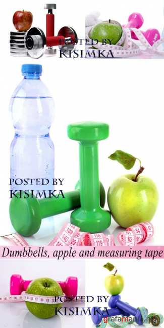 Stock Photo: Dumbbells, apple and measuring tape