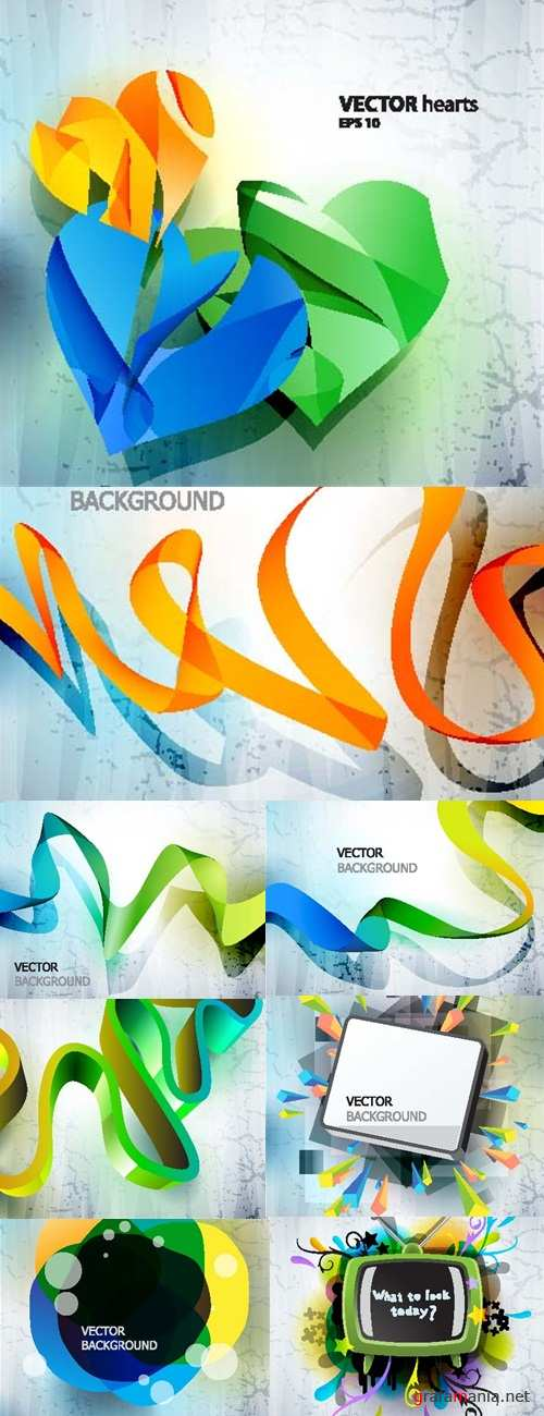 Vector hearts abstract backgrounds
