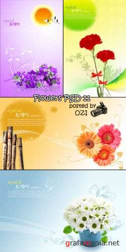 Flowers backgrounds PSD 11
