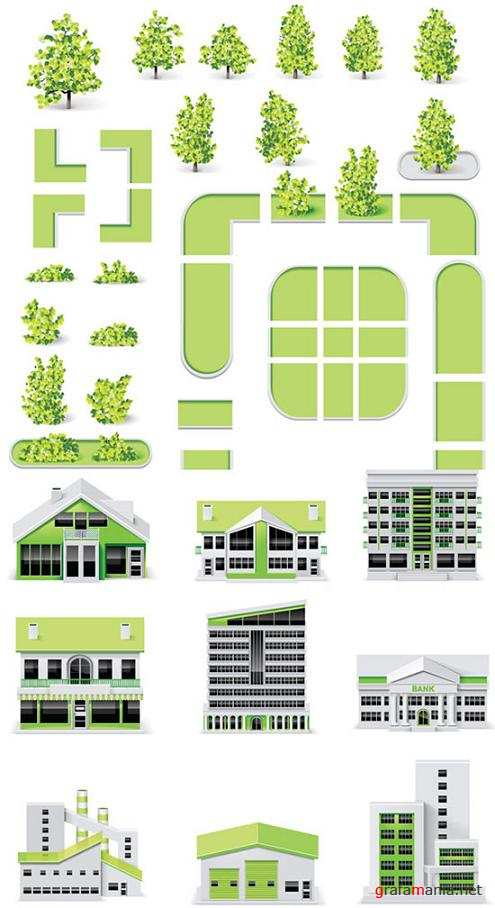 Vector Buildings and Landscapes