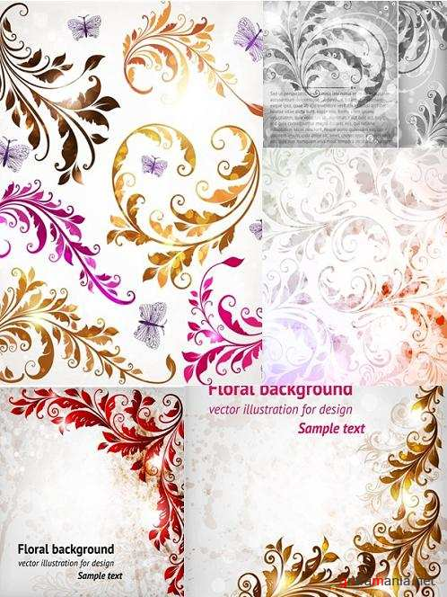 Beautiful Floral Vector Backgrounds