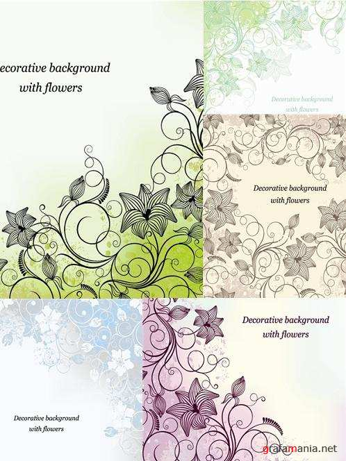 Set Floral Backgrounds
