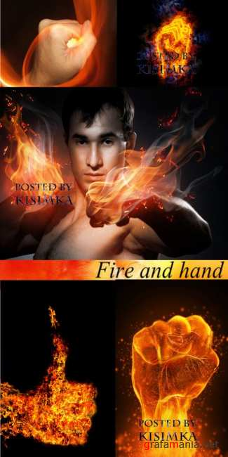Stock Photo: Fire and hand