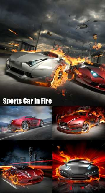 Stock Photos - Sports Car in Fire