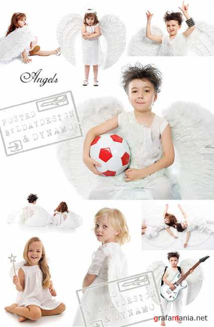 Stock Photo - Cute little Angels on white background