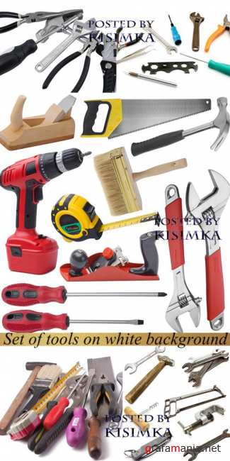 Набор инструментов  Stock Photo: Set of tools on white background
