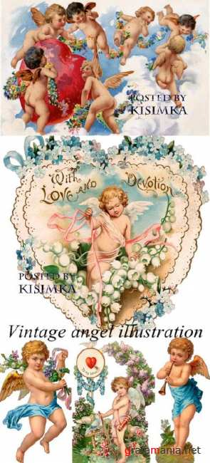 Ангелы и купидоны  Stock Photo: Vintage angel illustration